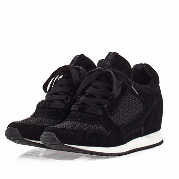 ASH WOMENS DEAN WEDGE SNEAKER BLACK MESH
