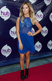 Ashley Tisdale attended The Hub Network's Summer party in a nautical, blue-hued dress, anchored with black ankle boots.