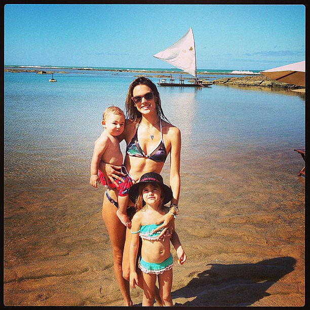 Alessandra Ambrosio shared a sweet snap while hanging with her kids, Anja and Noah Mazur, on the beach. Source: Instagram user alessandraambrosio