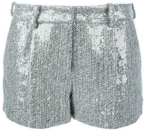Diane Von Furstenberg metallic classic tweed shorts