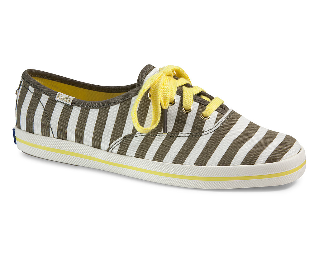 I've been wearing stripes nearly head-to-toe for much of 2013, so before I retire my linear print, I might as well go all out. This Keds x Kate Spade pair ($75) has a bold, kicky graphic motif as well as rich hues that will effortlessly transition into Fall.  — RM