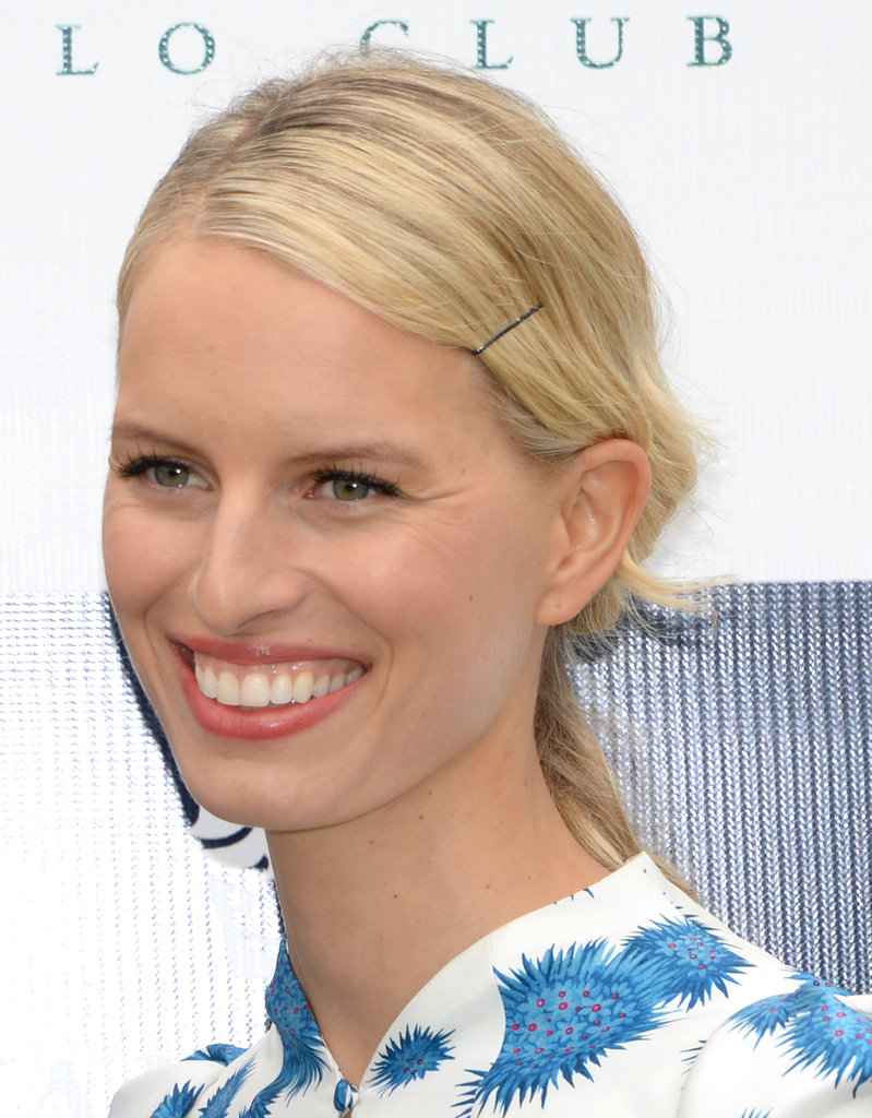 Sometimes you just need to keep your bangs  out of your eyes, and Karolina Kurkova added a solitary bobby pin to do just that.