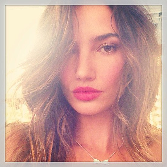 Lily Aldridge showed off her bright red lipstick before a Victoria's Secret shoot. Source: Instagram user lilyaldridge