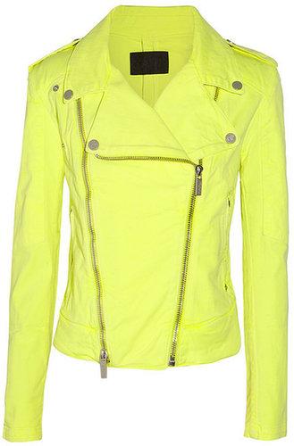 Karl Lagerfeld Jovanna neon stretch-denim biker jacket