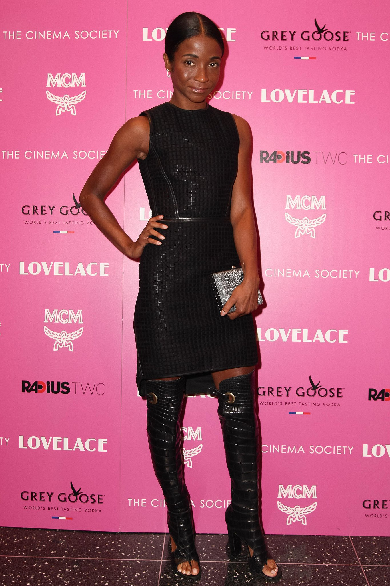 Genevieve Jones worked head-to-toe Ferragamo — including a leather-trimmed quilted dress — at The Cinema Society's New York screening of Lovelace.