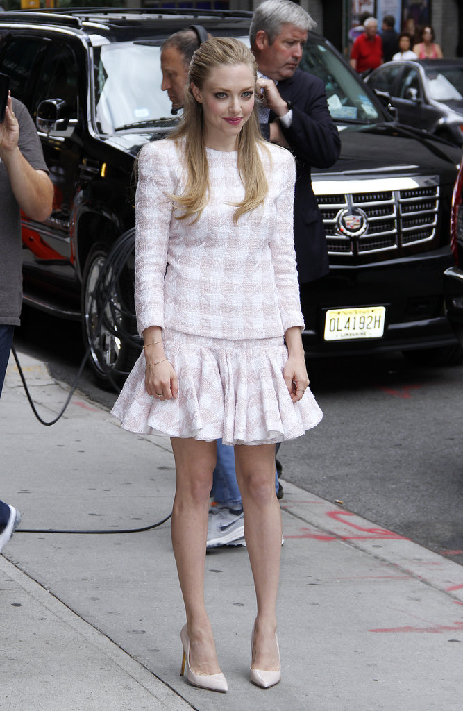 On her way into David Letterman's studios earlier in the day, Amanda was prim and proper in a pink-and-white checkered Balmain ensemble, finished with matching nude pumps.