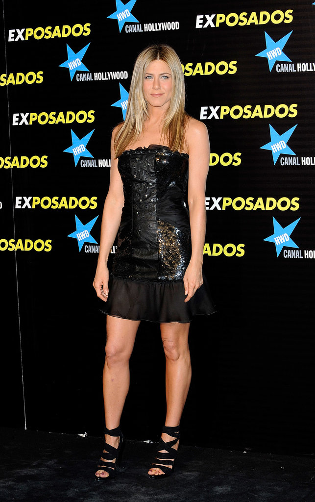 Aniston exuded punk-rock glamour in a sequin-and-satin Valentino LBD for the Madrid premiere of The Bounty Hunter in 2010. Her LBD featured an array of textured including a front diamond-encrusted leather panel.
