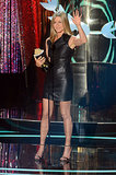 The blond stunner star showed off her enviable figure in a body-hugging leather Valentino while accepting her Best Dirtbag award for her performance in Horrible Bosses at the 2012 MTV Movie Awards.