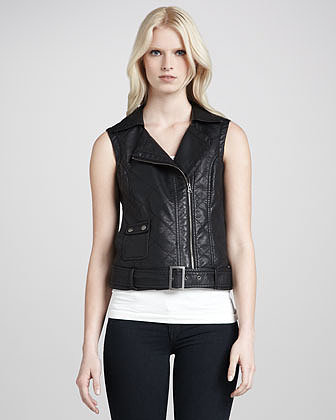 French Connection Thea Perfecto Quilted Moto Vest