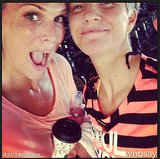 Molly Sims got silly and sweaty with her SoulCycle instructor.  Source: Instagram user mollybsims