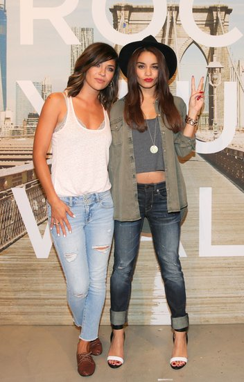 Jessica Szohr, who was also at the same event, opted to tuck this American Eagle burnout tank ($10, originally $20) in white into these faded skinny cropped jeans ($30, originally $50), then finished with a pair of lace-up oxfords.