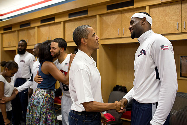 President Obama shook hands with LeBron James while meeting with the US Men's Olympic team in July 2012. Source: Flickr user The White House