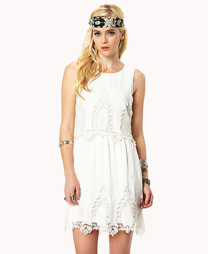 FOREVER 21 Crocheted Lace Chiffon Dress