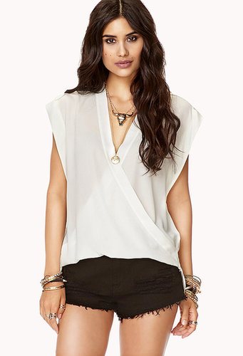 FOREVER 21 High-Low Surplice Top