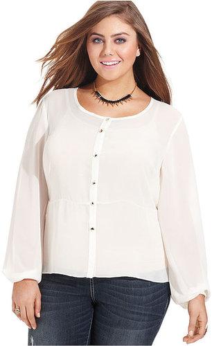 ING Plus Size Top, Long-Sleeve Blouse