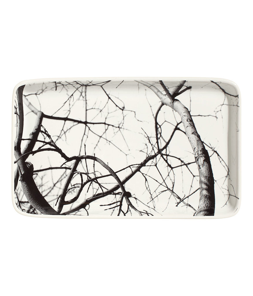 This slightly spooky ceramic tray ($7) is printed with a black and white tree photograph.