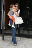 Miranda Kerr got a kiss on the cheek from her son Flynn Bloom while out and about in NYC.