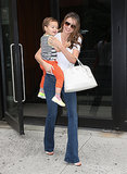 Miranda Kerr and Flynn Bloom stepped out in NYC.