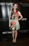 At a panel for The Mortal Instruments, Lily Collins looked lovely in her floral Sachin + Babi design and Casadei heels.