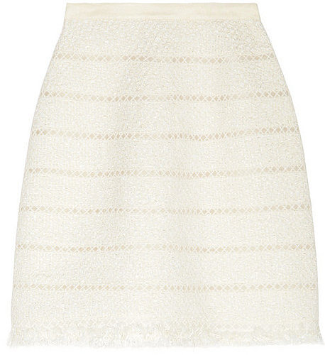 Oscar de la Renta Embroidered metallic tweed skirt
