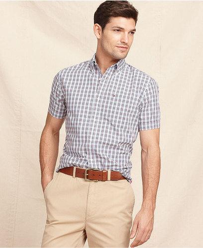 Tommy Hilfiger Shirt, Short Sleeve David Slim Fit Check Shirt