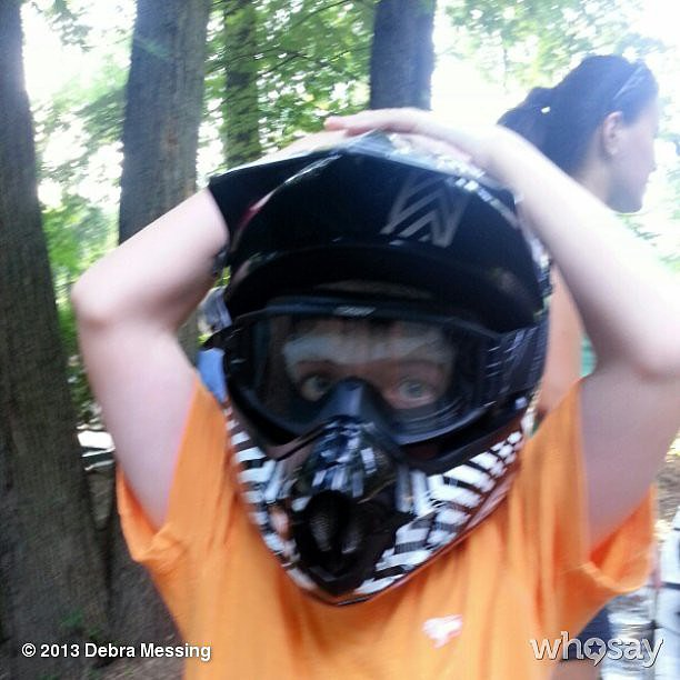 Debra Messing's son, Roman, got ready to rule the race track at camp. Source: Instagram user therealdebramessing
