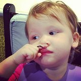 Haven Warren humored her dad by giving herself a fingerstache.  Source: Instagram user cash_warren