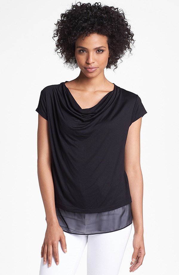 How to take a t-shirt to the office? The familiar style is professional with a draped neck like this Olivia Moon find ($42).