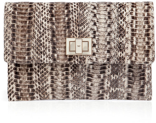 Anya Hindmarch Snakeskin Valorie Clutch in Natural