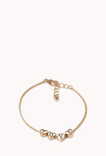 FOREVER 21 Love Hearts Charm Bracelet