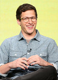 Andy Samberg cracked a smile onstage during a panel for Brooklyn Nine-Nine.