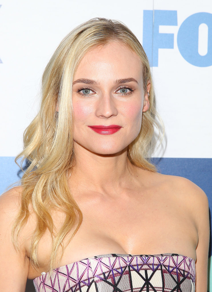 Out for the TCA Fox party, Diane Kruger opted for rosy cheeks and a bright berry lipstick.