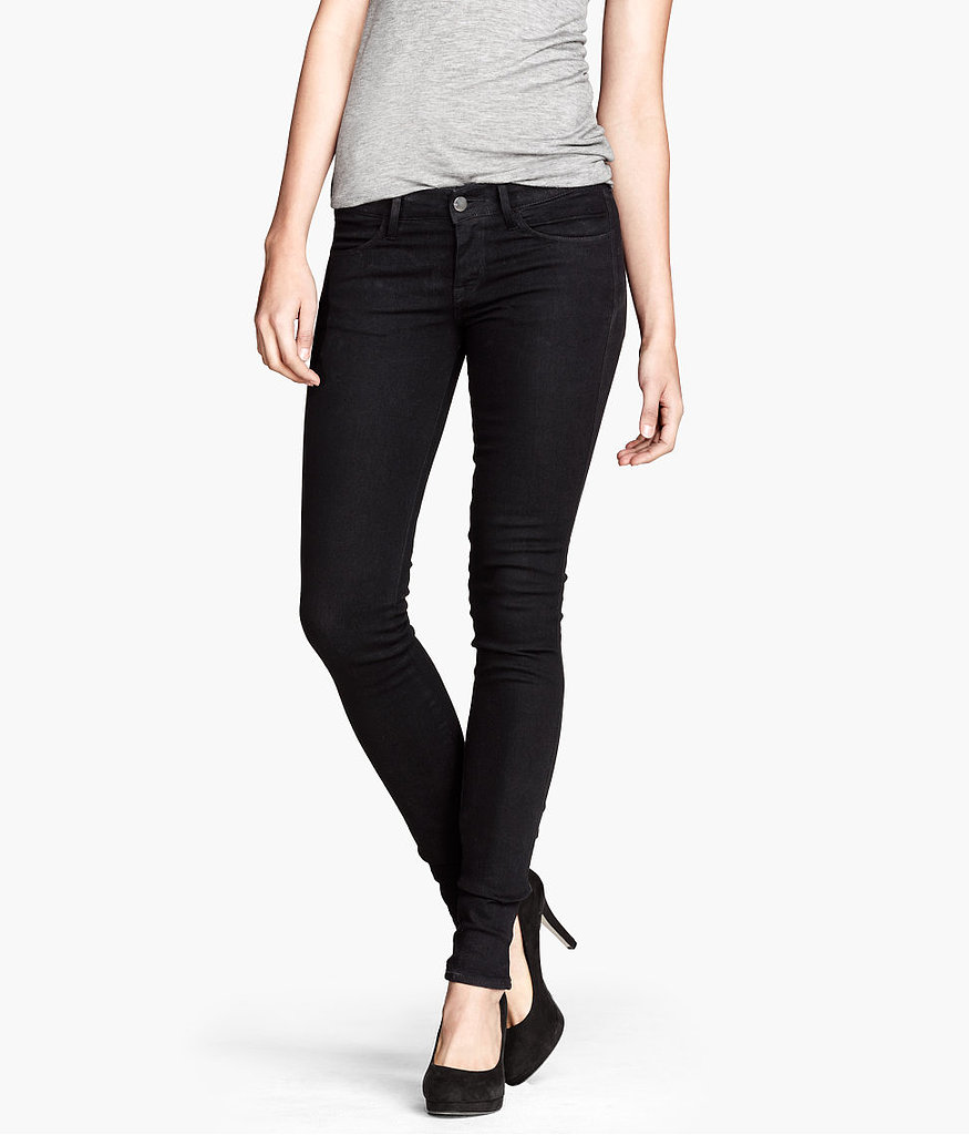 The surest way to bring denim to work? Try a black pair ($10) when you'd normally wear tailored trousers.