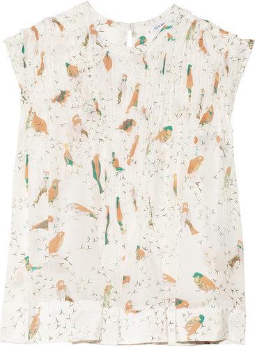 See by Chloé Bird-print silk top