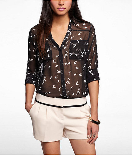 Bird Print Convertible Sleeve Portofino Shirt