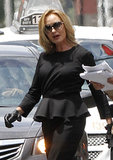 Jessica Lange wore all black on Wednesday while shooting scenes for American Horror Story in New Orleans.