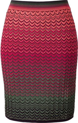 M Missoni Viscose-Wool Blend Patterned Skirt