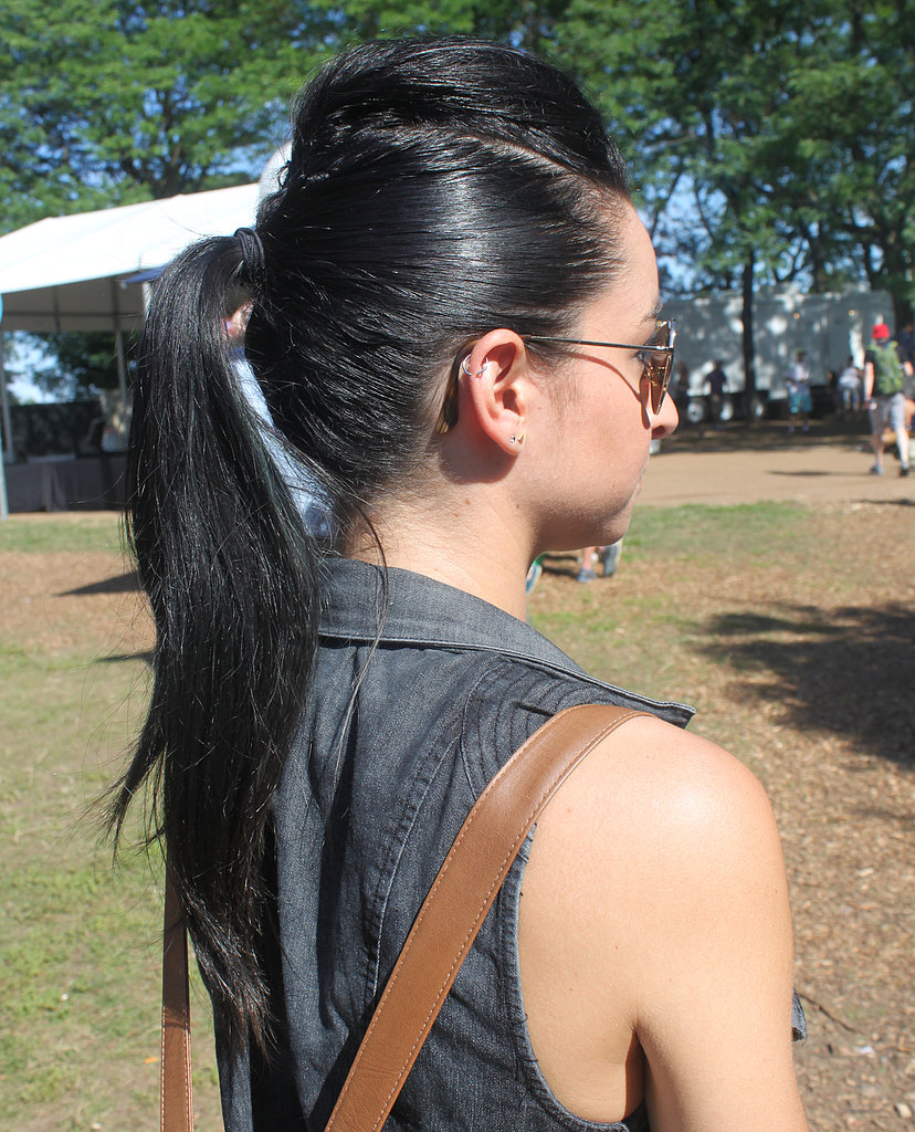 Marisa remixed her ponytail by adding a pompadour in front — just the edge she needed for a music-festival hairstyle.
