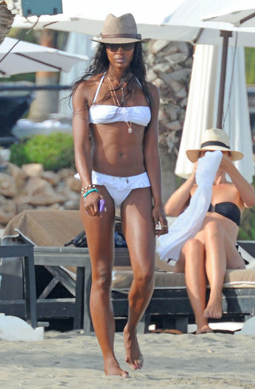 Naomi Campbell wore a white bikini in Marbella in August.