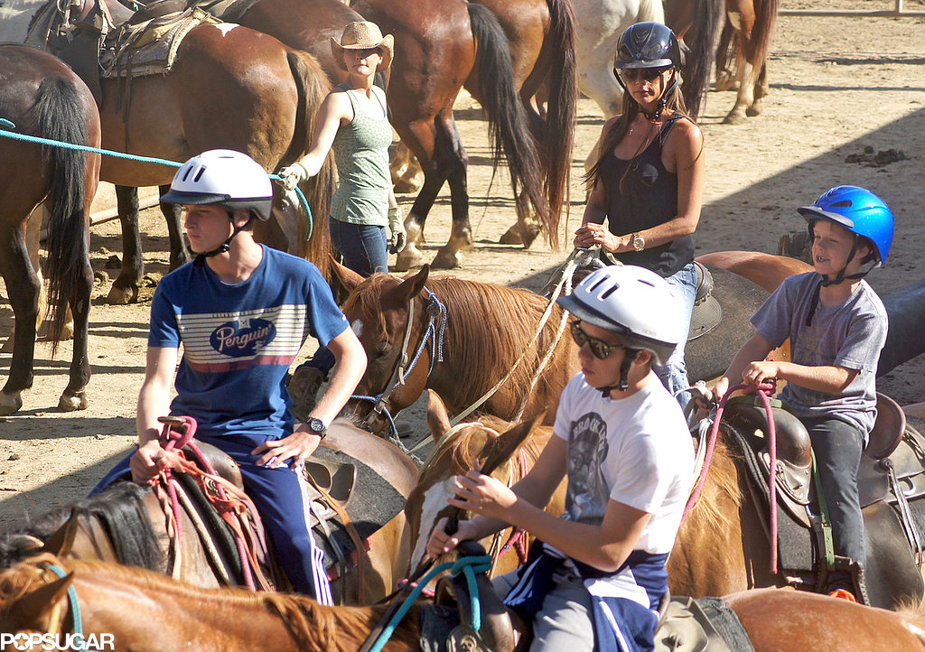 Victoria Beckham hopped on a horse for a horseback-riding excursion with her sons in LA.
