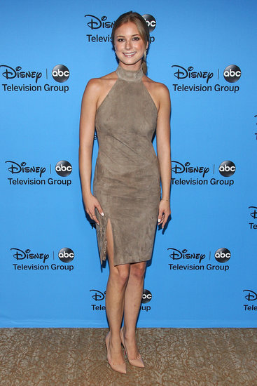 Emily VanCamp complemented her suede halter dress with earrings and a bangle by EF Collection, a ring by Dana Rebecca Designs, and a pair of leg-lengthening nude pumps to finish.