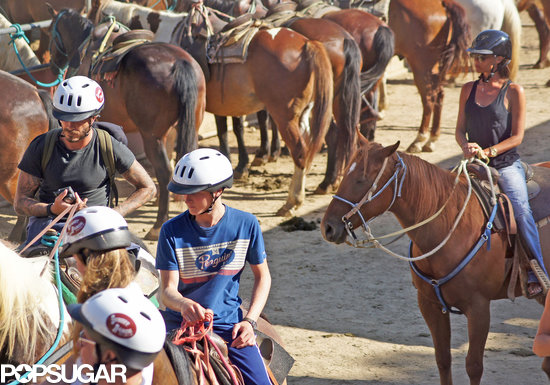 Victoria Beckham went horseback riding with her sons, Brooklyn, Romeo, and Cruz.