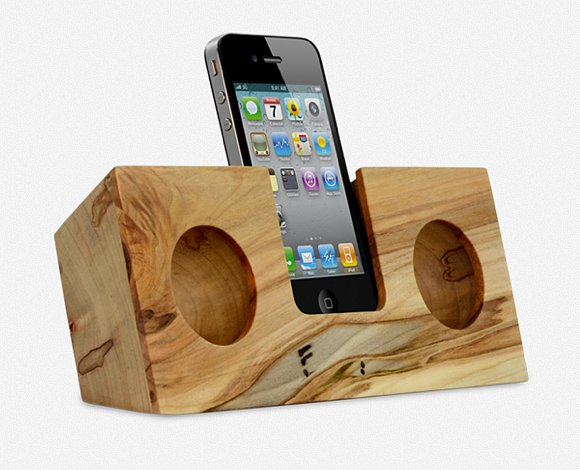 Behold, this gorgeous iPhone dock ($95), a completely wooden accessory that acoustically amplifies the volume of your music two to four times. It's perfect for your workspace, counter,