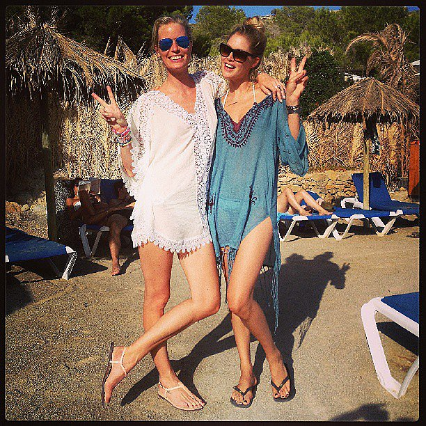 Doutzen Kroes and Caroline Winberg posed together in pretty swim cover-ups at a Love magazine luncheon in Ibiza. Source: Instagram user doutzen
