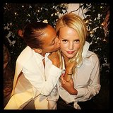 Nicole Richie gave her friend Kelly Sawyer a kiss — how cute are their matching white-on-white looks? Source: Instagram user nicolerichie