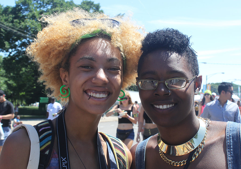 Natural hair was well represented at Lollapalooza. These two ladies showed off their unique coifs while heading to their next concert.