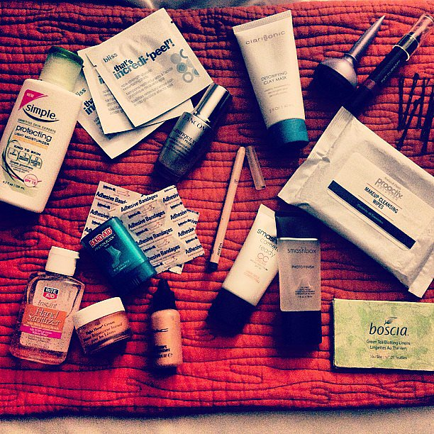 Some of our festival beauty essentials included CC cream, eye cream, face wipes, bobby pins, and Band-Aids, of course. Source: Instagram user POPSUGARBeauty