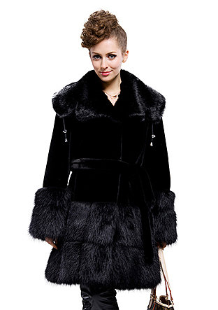 cheap top quality black faux mink fur faux beaver fur long coat free shipping