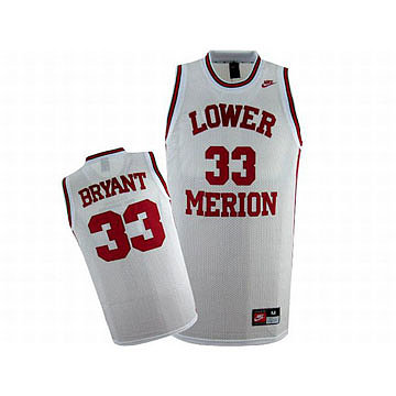 Lower Merion Kobe Bryant #33 White Nike Swingman Jersey Red Numbers