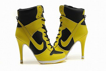 womens nike dunk sb high heels black/yellow